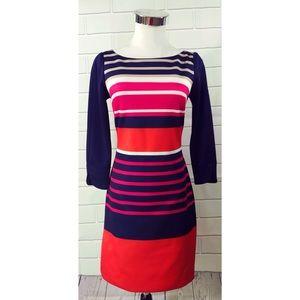 Eliza J Striped Size 0 Sheath Shift Dress Stretch